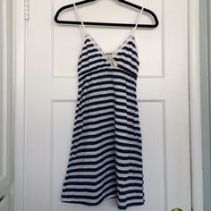Blue and White Striped Cover Up Cute bathing suit cover up! Gently worn, 100% polyester. Dark blue and white stripes. Vintage Girl Dresses