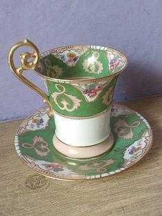 Antique TV Limoges France chocolate cup, vintage French porcelain tea cup and saucer set, Victorian tea set, green tea cup set
