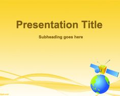 Free Satellite PowerPoint Template with satellite and yellow background