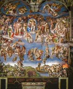 Michelangelo - The Last Judgement, 1541 in the Sistine Chapel - The Vatican - Rome Italy
