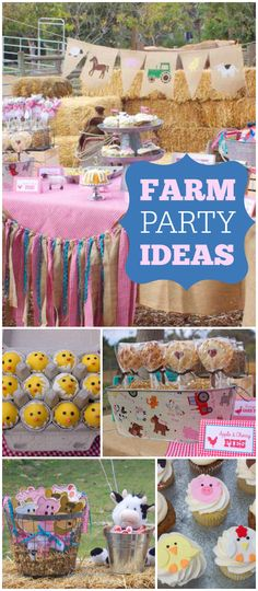So much cuteness at this farm party! See more party ideas at CatchMyParty.com! Farm Animal Party, Farm Animal Birthday, Tractor Birthday, Cowgirl Birthday, Cowgirl Party, Farm Birthday, 2nd Birthday Party For Girl, Birthday Party Themes, Petting Zoo Birthday Party