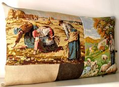 French Needlepoint Tapestry Antique Linen Millet by Retrocollects
