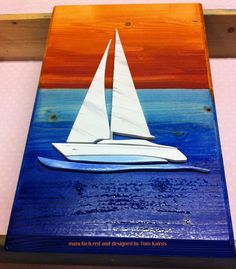 Wood pictogram sailing yacht - Wall Mural (as a gift)