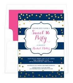 Personalized Navy Sweet 16 Gold Confetti Birthday Invitations