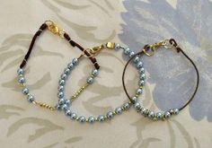 Trio pulseiras-Perola Azul