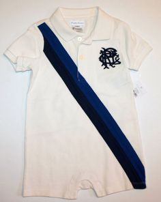 NWT Ralph Lauren Baby Boys Polo Short Sleeves  Banner Stripe Shortall Romper #RalphLauren #DressyEveryday