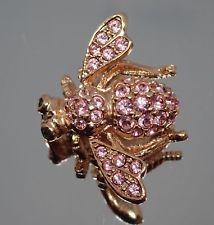 Joan Rivers Crystal Critters Pink Rhinestone Garden Bee Pin Brooch