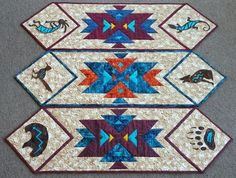 Southwest Kokopelli Table Runner Pattern via Craftsy Star Quilts, Mini Quilts, Scrappy Quilts, Quilt Blocks, Quilting Projects, Quilting Designs, Quilting Tutorials, Quilting Ideas, Southwestern Quilts