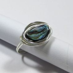 DWJ Ocean Inspired Capri Blue Sea Glass Silver Wire Ring Sizes 6-10