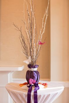 Custom Tree by Love Flowers Shenandoah. Lighted Ceremony Accent. George Washington Hotel, Winchester VA. Photo courtesy of Photography by Lindsay. Willow and Birch Branches.