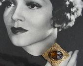 ART DECO Czech Glass and Gold Metal Brooch Quality Pin Broach For Hat,Scarf, Blouse,Dress, Coat or Jacket Pin Vintage Jewelry