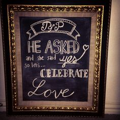 Making use of my framed chalkboard: Engagement party welcome sign :)
