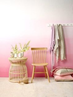 Pink Ombre wall using Resene paints, featured in the August issue of Your Home and Garden magazine. Photography by Melanie Jenkins, styling by Emily Somerville-Ryan.