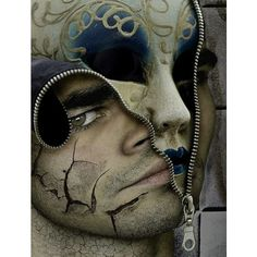 Surreal art image by FindStuff2 on Photobucket ❤ liked on Polyvore featuring faces, mask, backgrounds, art and dark
