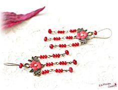 Cercei candelabru cu floricele corai si jad rosu Jad