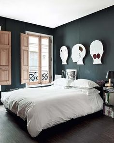 bedroom with black walls