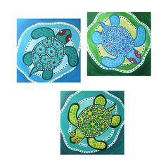 Whimsical Art 3 FUNKY TURTLES Set of 3 12x12 Acryic by nJoyArt, $200.00