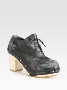 Comme des Garcons - Distressed Leather Lace-Up Oxfords