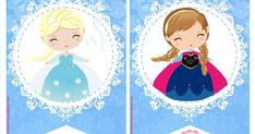 Mamá Decoradora te trae este hermoso kit imprimible de frozen gratis, con todo lo necesario para que tu misma puedas armar un cumpleaños ge... Frozen Dessert Table, Frozen Desserts, Frozen Birthday Cake, Frozen Party, Candy Bar Frozen, Bday Girl, Alice, Disney Frozen, Cake Designs