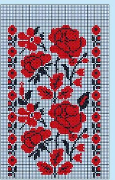 Roses have black to accent the petals, unlike poppies which just have black in the center. Beaded Embroidery, Cross Stitch Embroidery, Embroidery Patterns, Hand Embroidery, Machine Embroidery, Cross Stitch Art, Cross Stitch Flowers, Cross Stitching, Cross Stitch Patterns