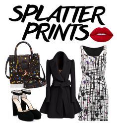 """Black and white with a dash of red"" by safiyat-aminu on Polyvore featuring Milly, Jimmy Choo and Loeffler Randall"