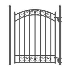 ALEKO Their gates capture the classic elegance of wrought iron gate designs. This quality gate is powder coated and galvanized for years of trouble free good looks and security. This pedestrian gate goes well with all other styled gates.