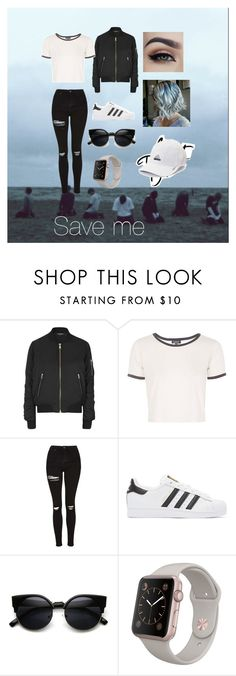 """Save me ( bts ) inspired outfit"" by bts4ever02 ❤ liked on Polyvore featuring Topshop, adidas Originals and adidas"