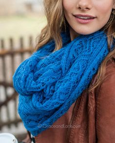 Lace Knit Scarf in Cobalt by Grace & Lace