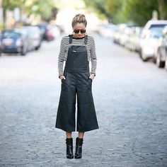 Dress up your overall game in @northofmanhattan's #LTKunder100 leather culotte pair over stripes and a pair of pointed ankle boots | Get ready-to-shop details with www.LIKEtoKNOW.it | www.liketk.it/1NCBc #liketkit