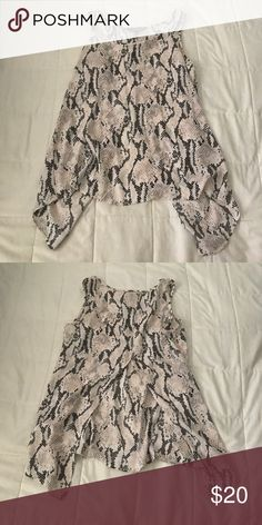 beautiful snakeskin patterned tank light pink. sheer. open back. great condition. super cute Express Tops Tank Tops