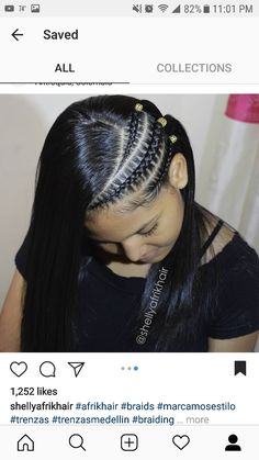 Half Braided Hairstyles, Baddie Hairstyles, Permed Hairstyles, Girl Hairstyles, Cornrow Braid Styles, Ponytail Styles, Hair Upstyles, Girls Braids, Hair Videos