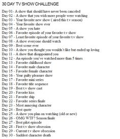30 Day TV Show Chall
