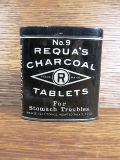 Antique Medical Advertising Pocket Tin Requa's Charcoal Tablets No. 9 for Stomach Troubles New York. $18.00, via Etsy.