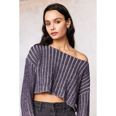 Silence + Noise Kylie Ribbed Cropped Sweater ($25) ❤ liked on Polyvore featuring tops, sweaters, purple sweater, cropped sweaters, long sleeve crop sweater, off shoulder long sleeve top and ribbed sweater