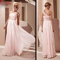Designer Baby Pink Chiffon One Shoulder Evening Ball Gown Prom Dresses SKU-122019