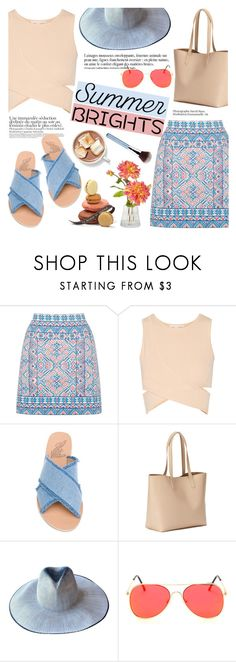 """""""Summer brights!"""" by helenevlacho ❤ liked on Polyvore featuring Oasis, Jonathan Simkhai, Ancient Greek Sandals, Old Navy, Giorgio Armani, Anja, Sigma, contestentry and summerbrights"""