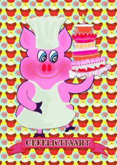 Verjaardagskaart Taart Tijd PA, verkrijgbaar bij #kaartje2go voor €1,89