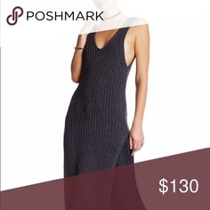 Free People Ribbed sweater dress w high slits Free People Ribbed sweater dress w high slits worn once for about an hour! Perfect condition. Completely sold out online and in stores! Such a sexy little number! Can be worn various ways! Runs big Free People Dresses Midi