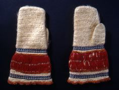 Nalbound mittens, Finland - Heinjoki, Carelian Isthmus (Russia since 1944). Length 27.5 cm, width 8-15 cm.