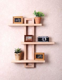 Modern Wall Shelf for Hanging Plants Books Photos. Bathroom Wall Shelves, Wooden Wall Shelves, Wall Shelf Decor, Wall Shelves Design, Rustic Shelves, Floating Shelves, Wall Wood, Wooden Shelf Design, Unique Wall Shelves