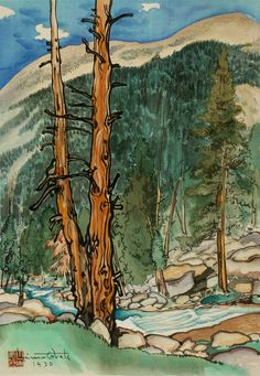 Upper Lyell Fork, near Lyell Glacier 1930 Chiura Obata, born Okayama-ken, Japan 1885-died Berkeley, CA 1975 Tadeo Takamizawa, Japanese, active 20th century (Printer) color woodcut on paper image: 15 3/4 x 11 in. (39.9 x 27.9 cm)