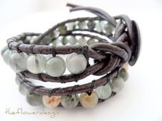 leather wrap bracelet  brown leather agate by theflowerdesign, $45.00