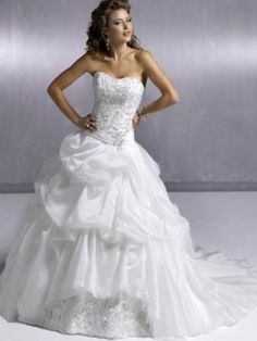 A-line Strapless Chapel Train Satin Wedding Gown with Beading
