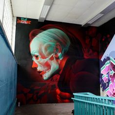 Realistic x-ray style color graffiti from Insane51! #realism #realistic #color #portrait #xray #graffiti