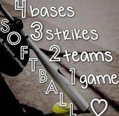 4 bases 3 strikes 2 teams 1 game Should say 1 winner Softball Quotes, Softball Pictures, Girls Softball, Softball Players, Sport Quotes, Softball Stuff, Softball Chants, Baseball Sayings, Softball Gear