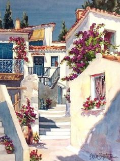 The Greece Whitewashed Walls Draped With Bougainvillea, Terracotta Roofs And Cloudless Skies.Found In The South, Where The Mediterranean Lies~c.c~ Erin Dertner Watercolor Landscape, Landscape Paintings, Watercolor Paintings, Greece Painting, Cross Stitch House, Cross Stitch Landscape, Pictures To Paint, Painting Inspiration, Home Art