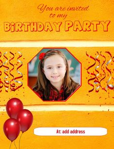 Customize this design with your video, photos and text. Easy to use online tools with thousands of stock photos, clipart and effects. Free downloads, great for printing and sharing online. Flyer (US Letter). Tags: birthday, birthday party, birthday party invitation, party, party invite, Birthday, Event Flyers , Birthday Invitation