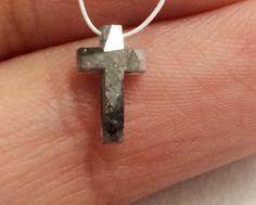 Grey Black Faceted Diamond Cross Grey Black Cross by gemsforjewels