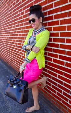Rockin' the colors: Navy, Hot pink, Neon Yellow. (I would wear this with the neon yellow removed)