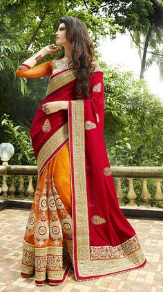 Buy Designer Red and Orange Silk and Net Designer Saree Online India - 4795112